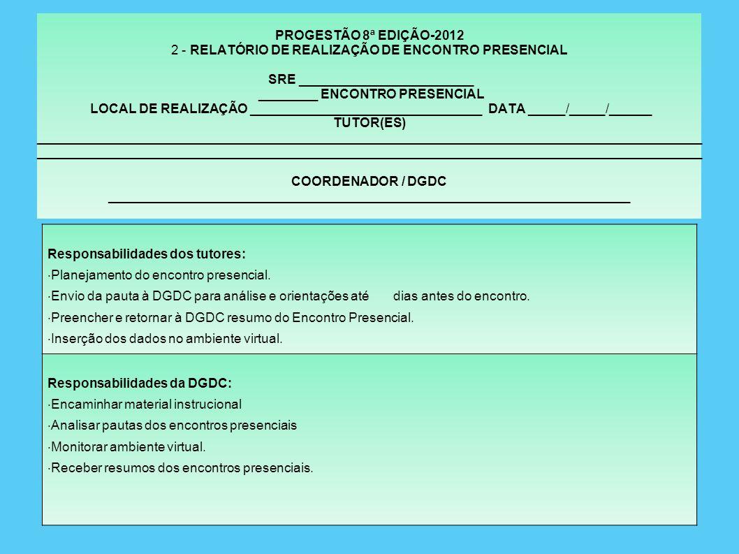 PROGESTÃO 1 - CRIVO PARA PLANEJAMENTO DOS ENCONTROS PRESENCIAIS V - ENCERRAMENTO DO ENCONTRO: 01- Orientações e informações referentes ao próximo encontro.