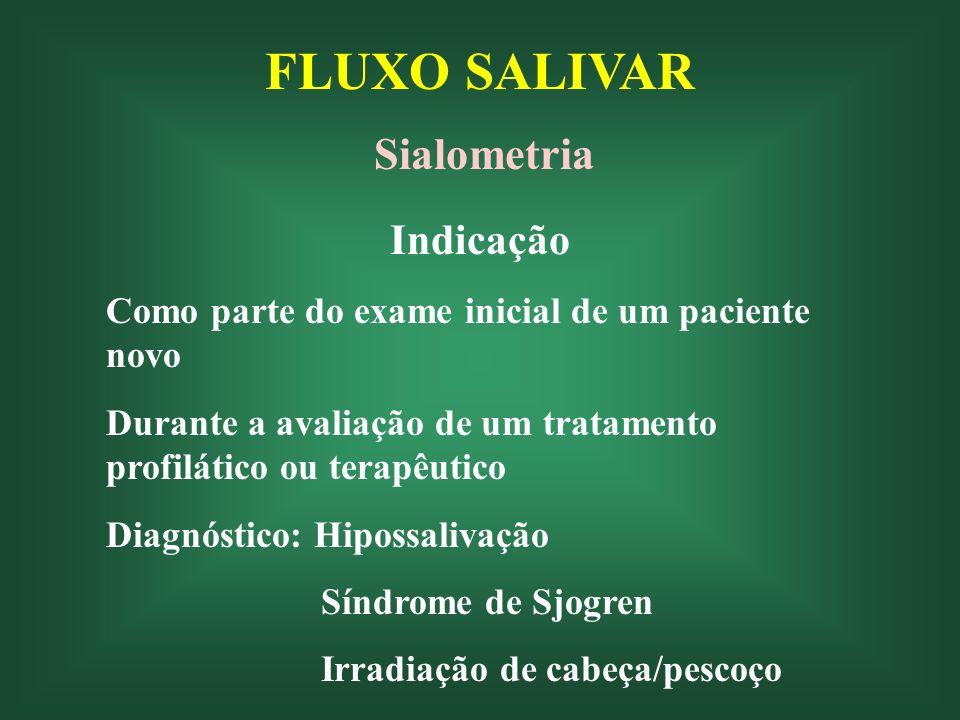FLUXO SALIVAR Sialometria Indicação Como parte do exame inicial de um paciente novo Durante a avaliação de um tratamento profilático ou terapêutico Diagnóstico: Hipossalivação Síndrome de Sjogren Irradiação de cabeça/pescoço