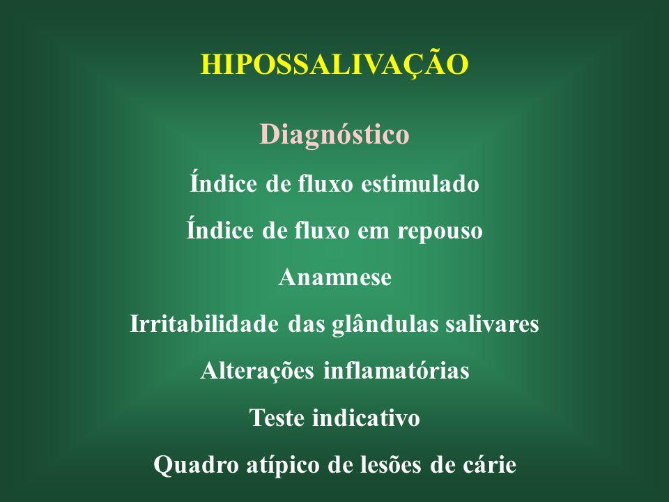 HIPOSSALIVAÇÃO Diagnóstico Índice de fluxo estimulado Índice de fluxo em repouso Anamnese Irritabilidade das glândulas salivares Alterações inflamatórias Teste indicativo Quadro atípico de lesões de cárie