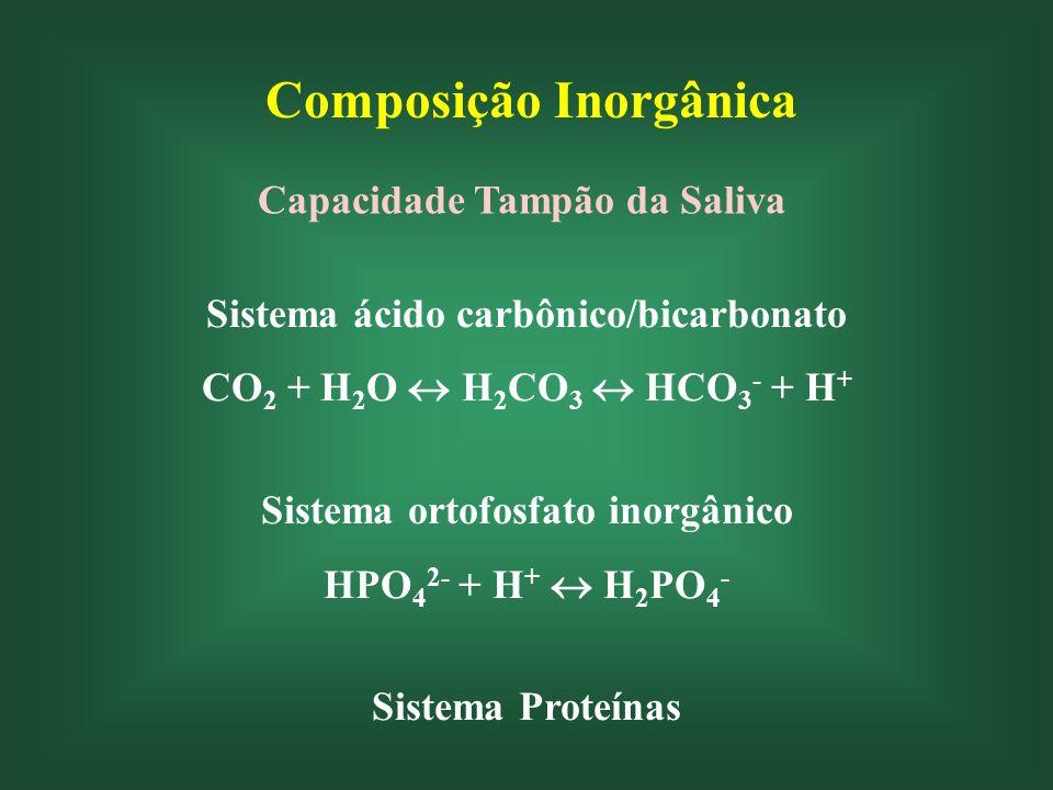 Composição Inorgânica Capacidade Tampão da Saliva Sistema ácido carbônico/bicarbonato CO 2 + H 2 O H 2 CO 3 HCO 3 - + H + Sistema ortofosfato inorgânico HPO 4 2- + H + H 2 PO 4 - Sistema Proteínas