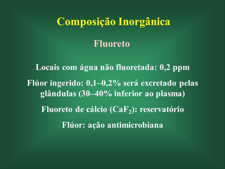 Composição Inorgânica Fluoreto Locais com água não fluoretada: 0,2 ppm Flúor ingerido: 0,1–0,2% será excretado pelas glândulas (30–40% inferior ao plasma) Fluoreto de cálcio (CaF 2 ): reservatório Flúor: ação antimicrobiana