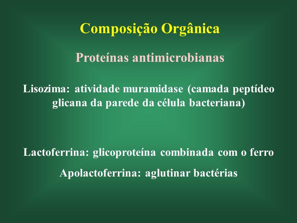 Composição Orgânica Proteínas antimicrobianas Lisozima: atividade muramidase (camada peptídeo glicana da parede da célula bacteriana) Lactoferrina: gl