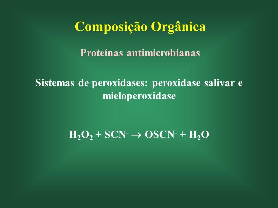 Composição Orgânica Proteínas antimicrobianas Sistemas de peroxidases: peroxidase salivar e mieloperoxidase H 2 O 2 + SCN - OSCN - + H 2 O