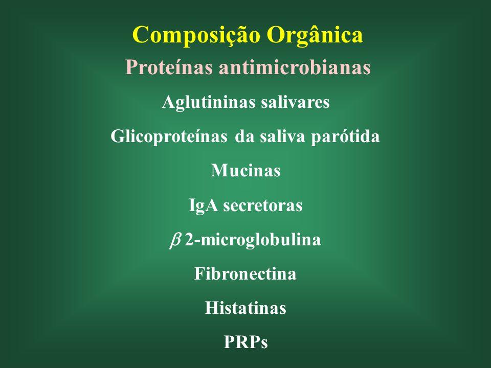 Composição Orgânica Proteínas antimicrobianas Aglutininas salivares Glicoproteínas da saliva parótida Mucinas IgA secretoras 2-microglobulina Fibronectina Histatinas PRPs