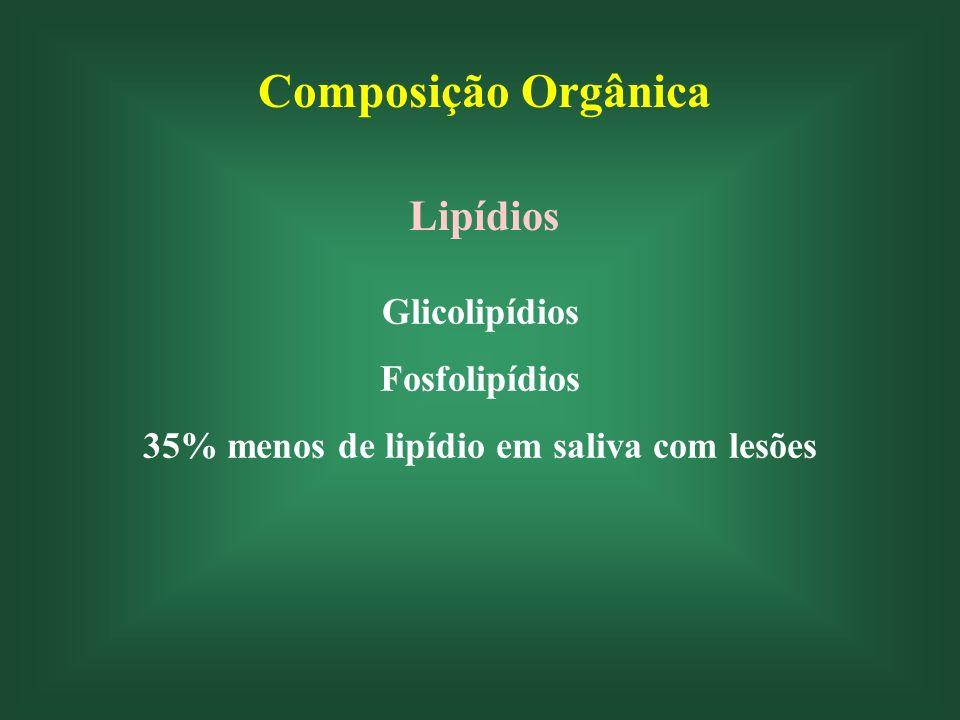 Composição Orgânica Lipídios Glicolipídios Fosfolipídios 35% menos de lipídio em saliva com lesões