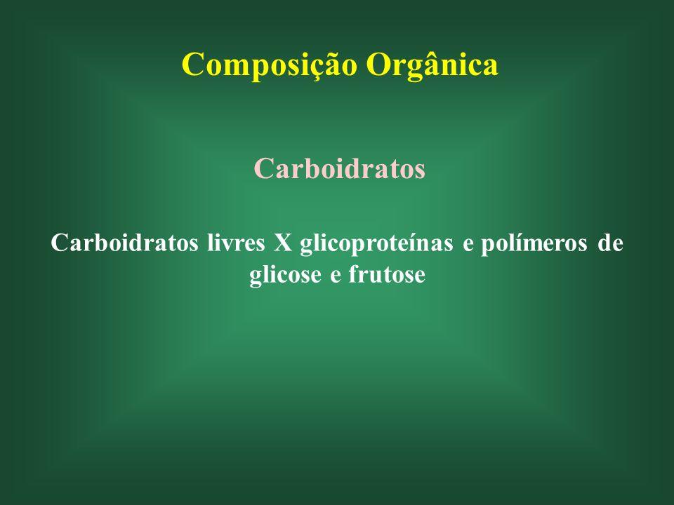 Composição Orgânica Carboidratos Carboidratos livres X glicoproteínas e polímeros de glicose e frutose