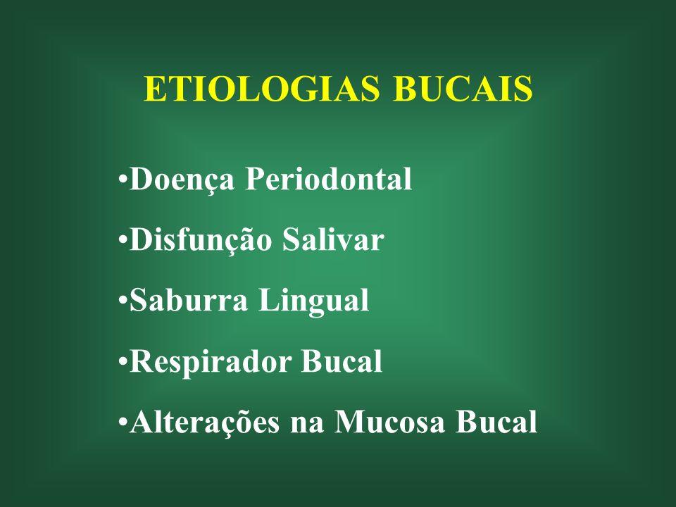 ETIOLOGIAS BUCAIS Doença Periodontal Disfunção Salivar Saburra Lingual Respirador Bucal Alterações na Mucosa Bucal
