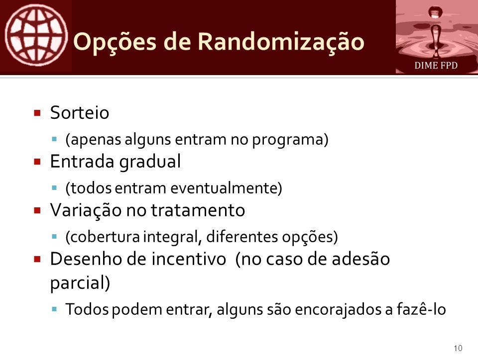 Opções de Randomização Sorteio (apenas alguns entram no programa) Entrada gradual (todos entram eventualmente) Variação no tratamento (cobertura integ