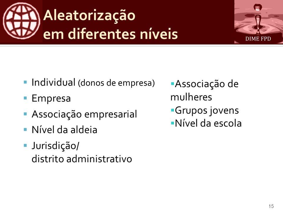 Aleatorização em diferentes níveis Individual (donos de empresa) Empresa Associação empresarial Nível da aldeia Jurisdição/ distrito administrativo 15