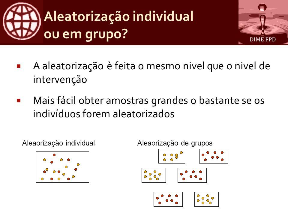 Aleatorização individual ou em grupo? A aleatorização è feita o mesmo nivel que o nivel de intervenção Mais fácil obter amostras grandes o bastante se