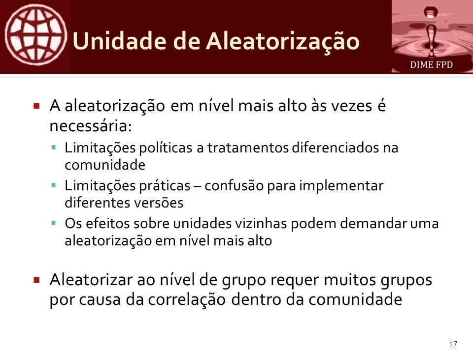 Unidade de Aleatorização A aleatorização em nível mais alto às vezes é necessária: Limitações políticas a tratamentos diferenciados na comunidade Limi
