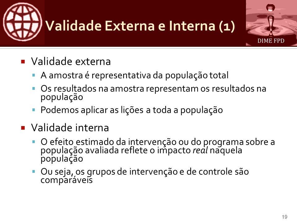 Validade Externa e Interna (1) Validade externa A amostra é representativa da população total Os resultados na amostra representam os resultados na po