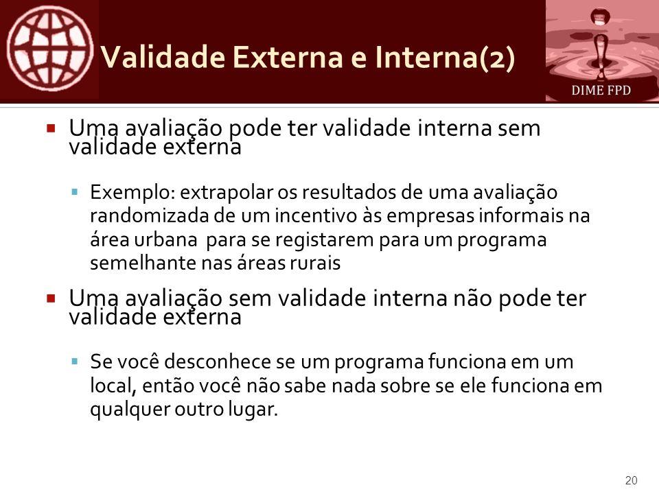 Validade Externa e Interna(2) Uma avaliação pode ter validade interna sem validade externa Exemplo: extrapolar os resultados de uma avaliação randomiz
