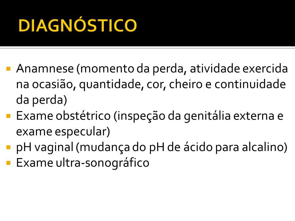 Anamnese (momento da perda, atividade exercida na ocasião, quantidade, cor, cheiro e continuidade da perda) Exame obstétrico (inspeção da genitália ex