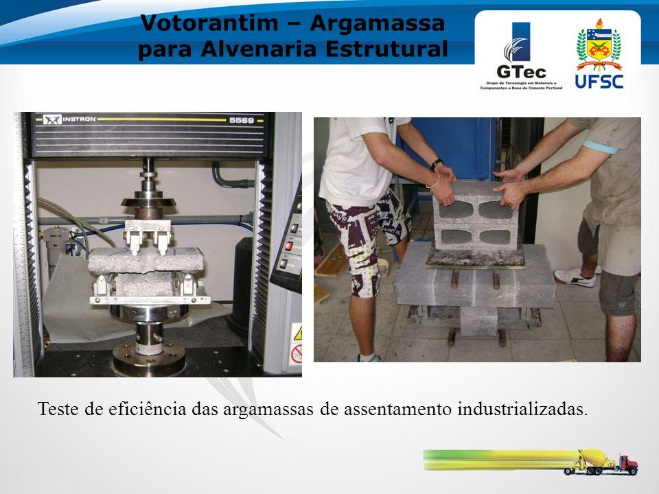 Votorantim – Argamassa para Alvenaria Estrutural Teste de eficiência das argamassas de assentamento industrializadas.