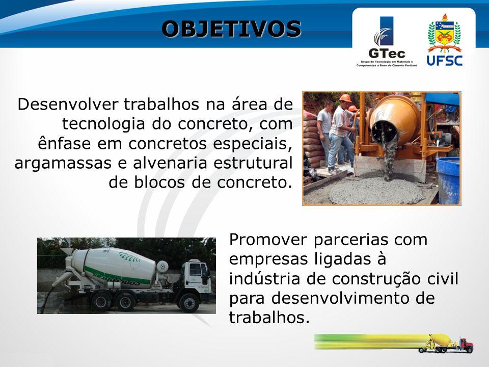OBJETIVOS Desenvolver trabalhos na área de tecnologia do concreto, com ênfase em concretos especiais, argamassas e alvenaria estrutural de blocos de concreto.