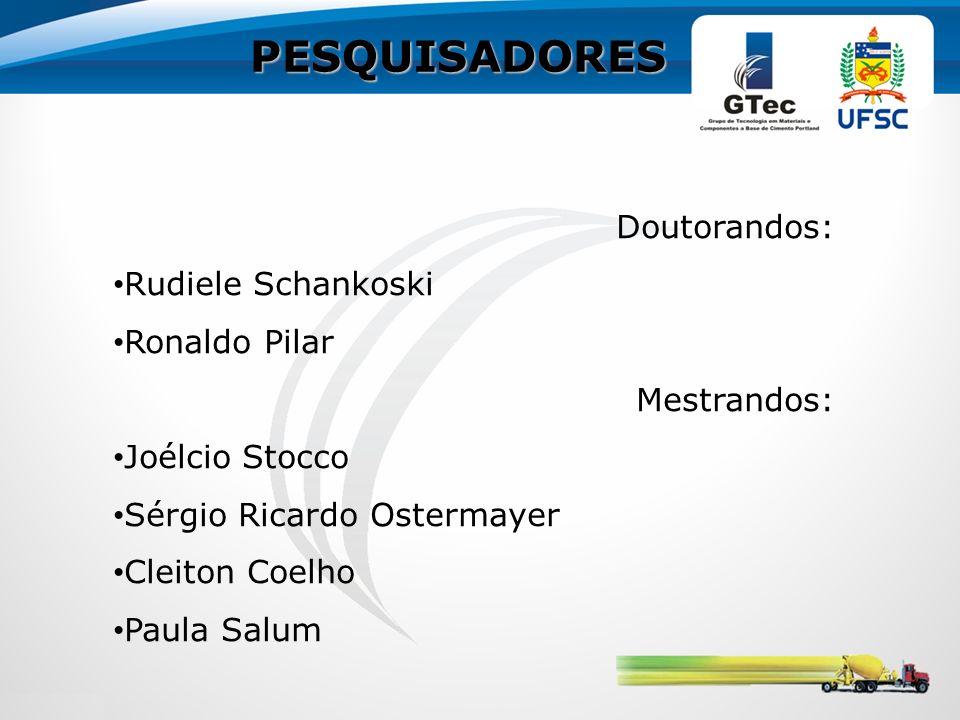 PESQUISADORES Doutorandos: Rudiele Schankoski Ronaldo Pilar Mestrandos: Joélcio Stocco Sérgio Ricardo Ostermayer Cleiton Coelho Paula Salum