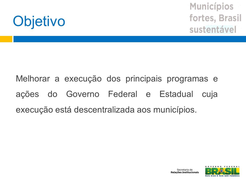 Objetivo Melhorar a execução dos principais programas e ações do Governo Federal e Estadual cuja execução está descentralizada aos municípios.