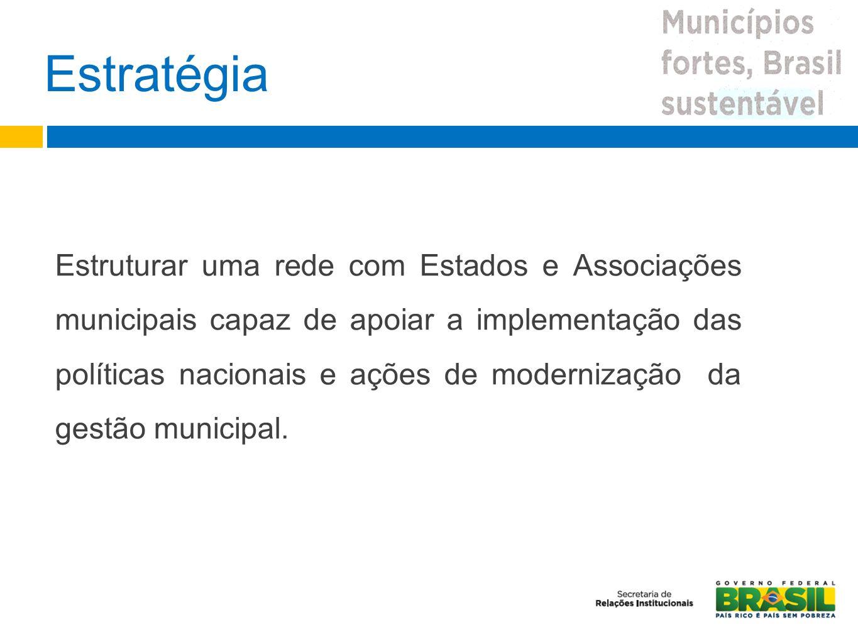 Estratégia Estruturar uma rede com Estados e Associações municipais capaz de apoiar a implementação das políticas nacionais e ações de modernização da