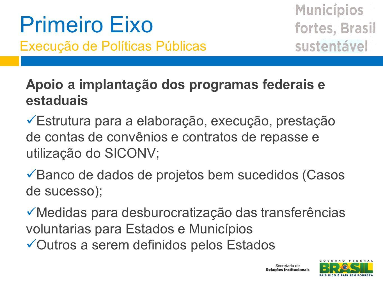 Primeiro Eixo Execução de Políticas Públicas Estrutura para a elaboração, execução, prestação de contas de convênios e contratos de repasse e utilizaç