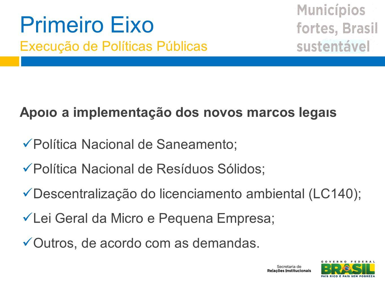 Apoıo a implementação dos novos marcos legaıs Política Nacional de Saneamento; Política Nacional de Resíduos Sólidos; Descentralização do licenciament