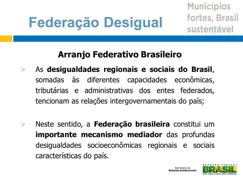 As desigualdades regionais e sociais do Brasil, somadas às diferentes capacidades econômicas, tributárias e administrativas dos entes federados, tenci