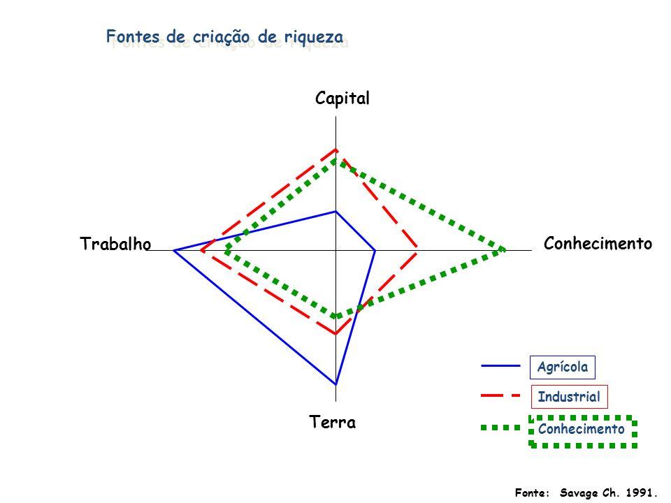 Conhecimento Terra Trabalho Capital Agrícola Industrial Conhecimento Fontes de criação de riqueza Fonte: Savage Ch. 1991.