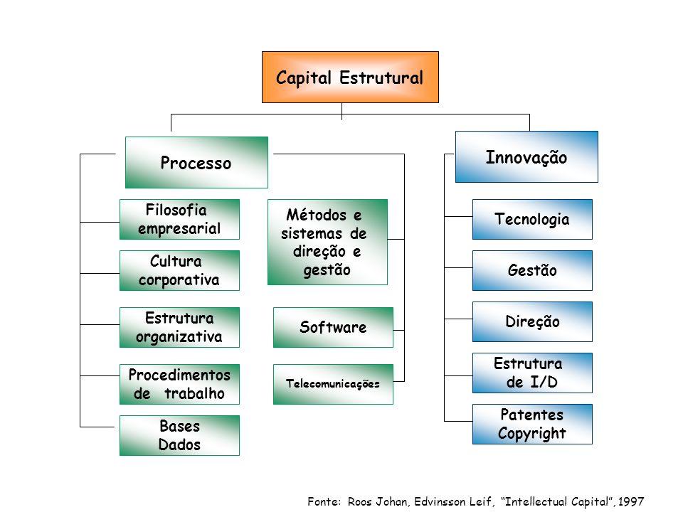 Fonte: Roos Johan, Edvinsson Leif, Intellectual Capital, 1997 Capital Estrutural Processo Innovação Filosofia empresarial Cultura corporativa Tecnologia Gestão Direção Métodos e sistemas de direção e gestão Estrutura organizativa Procedimentos de trabalho Bases Dados Software Telecomunicações Estrutura de I/D Patentes Copyright