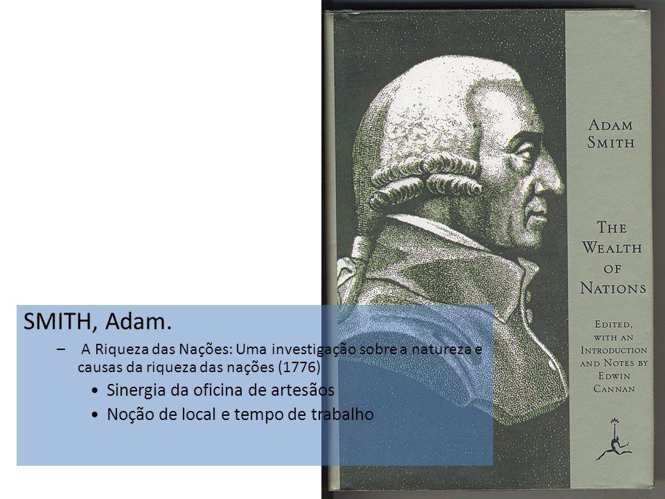 SMITH, Adam. – A Riqueza das Nações: Uma investigação sobre a natureza e causas da riqueza das nações (1776) Sinergia da oficina de artesãos Noção de