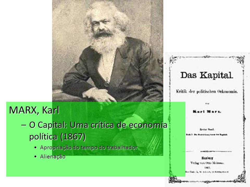 MARX, Karl –O Capital: Uma crítica de economia política (1867) Apropriação do tempo do trabalhadorApropriação do tempo do trabalhador AlienaçãoAlienação