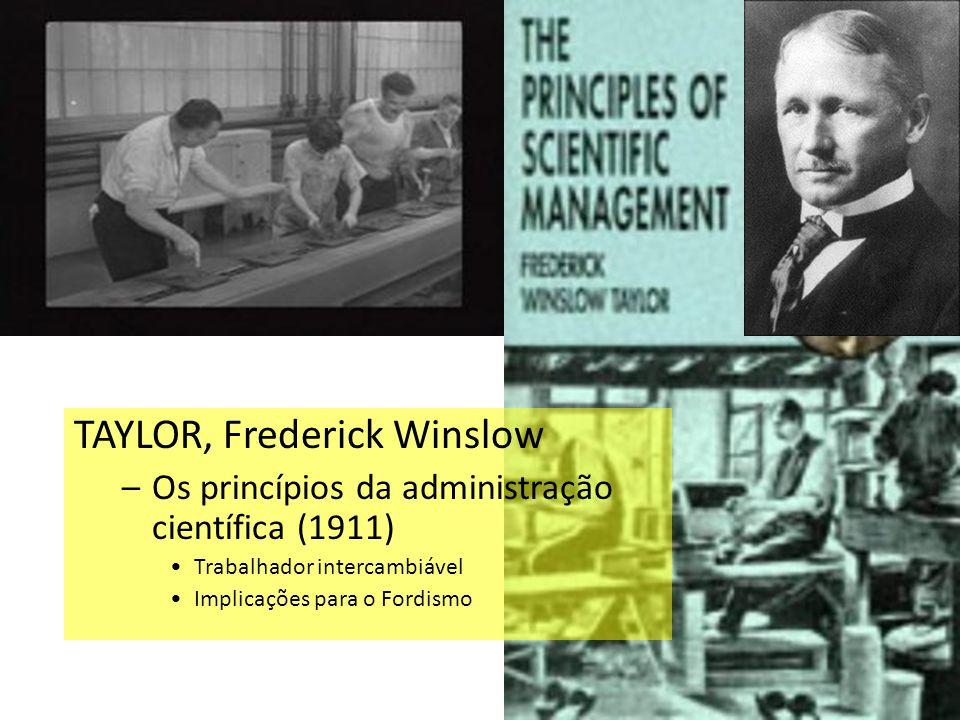 TAYLOR, Frederick Winslow –Os princípios da administração científica (1911) Trabalhador intercambiável Implicações para o Fordismo