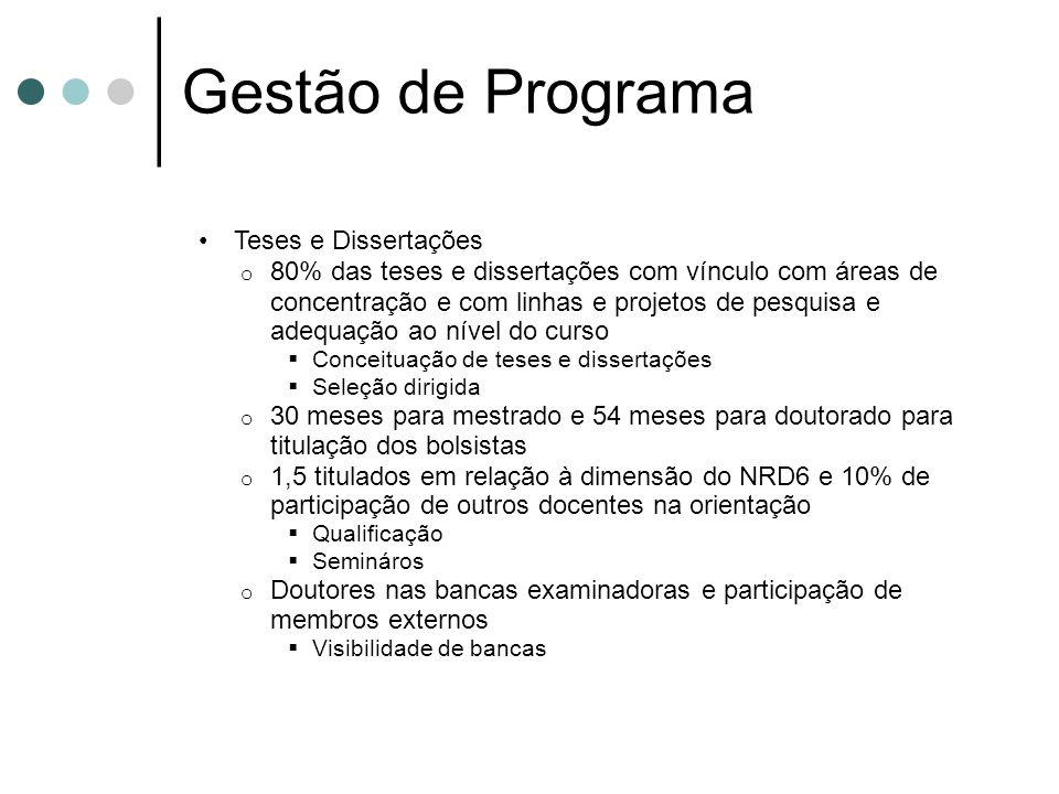 Gestão de Programa Teses e Dissertações o 80% das teses e dissertações com vínculo com áreas de concentração e com linhas e projetos de pesquisa e ade
