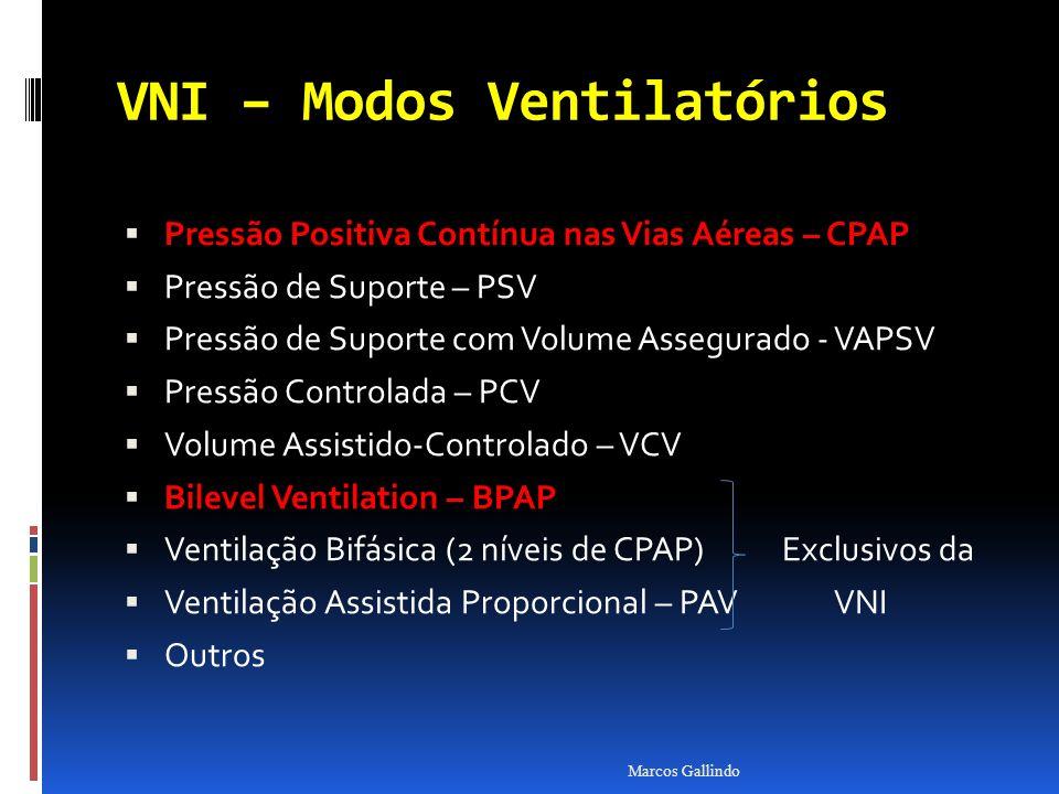 VNI – Modos Ventilatórios Pressão Positiva Contínua nas Vias Aéreas – CPAP Pressão Positiva Contínua nas Vias Aéreas – CPAP Pressão de Suporte – PSV Pressão de Suporte com Volume Assegurado - VAPSV Pressão Controlada – PCV Volume Assistido-Controlado – VCV Bilevel Ventilation – BPAP Bilevel Ventilation – BPAP Ventilação Bifásica (2 níveis de CPAP) Exclusivos da Ventilação Assistida Proporcional – PAV VNI Outros Marcos Gallindo