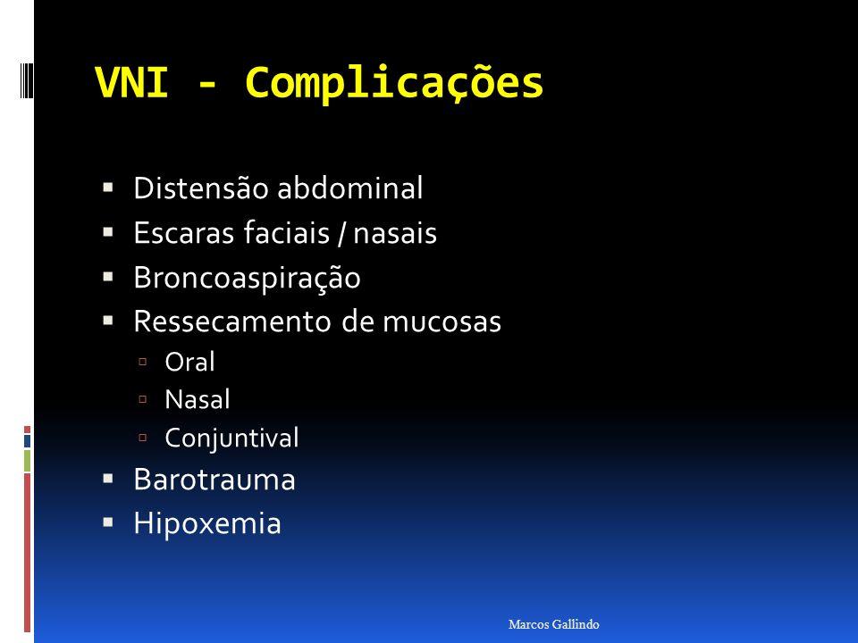 VNI - Complicações Distensão abdominal Escaras faciais / nasais Broncoaspiração Ressecamento de mucosas Oral Nasal Conjuntival Barotrauma Hipoxemia Ma