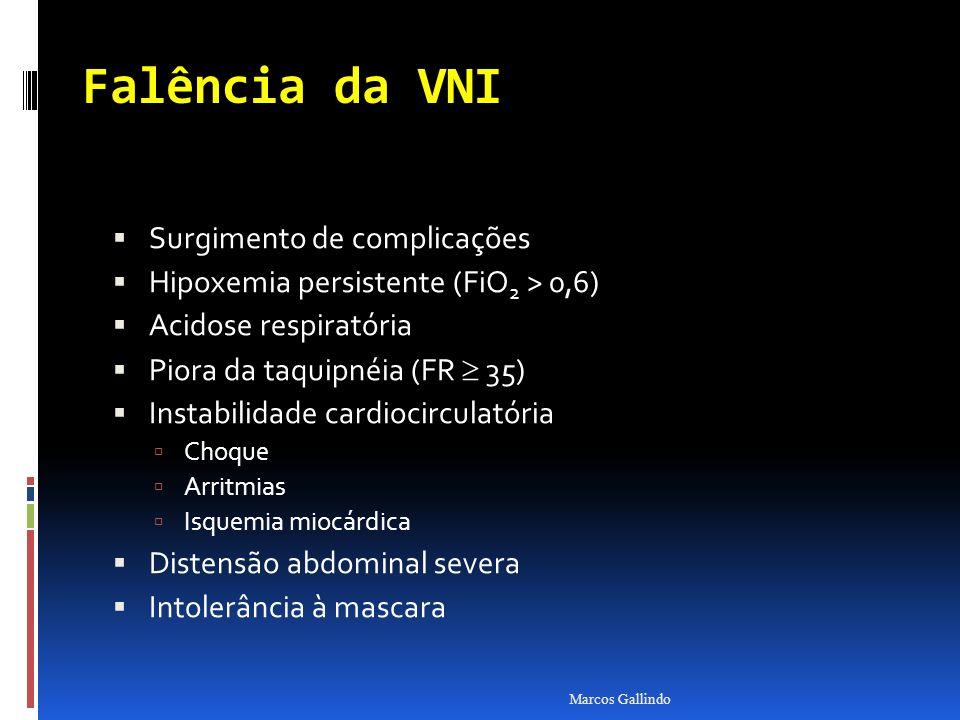 Falência da VNI Surgimento de complicações Hipoxemia persistente (FiO 2 > 0,6) Acidose respiratória Piora da taquipnéia (FR 35) Instabilidade cardiocirculatória Choque Arritmias Isquemia miocárdica Distensão abdominal severa Intolerância à mascara Marcos Gallindo