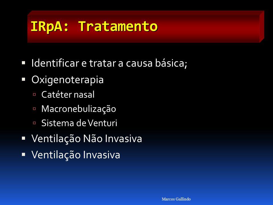 IRpA: Tratamento Identificar e tratar a causa básica; Oxigenoterapia Catéter nasal Macronebulização Sistema de Venturi Ventilação Não Invasiva Ventilação Invasiva Marcos Gallindo
