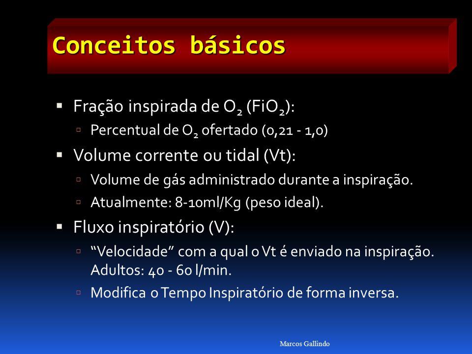 Conceitos básicos Fração inspirada de O 2 (FiO 2 ): Percentual de O 2 ofertado (0,21 - 1,0) Volume corrente ou tidal (Vt): Volume de gás administrado durante a inspiração.