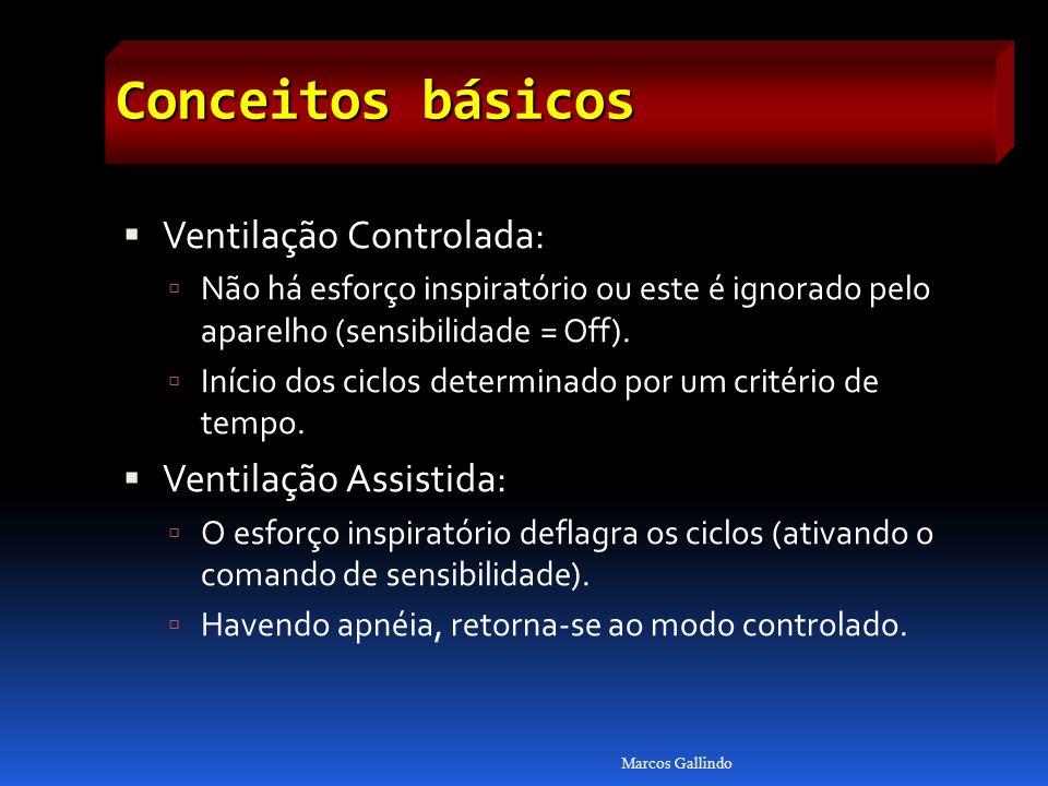 Conceitos básicos Ventilação Controlada: Não há esforço inspiratório ou este é ignorado pelo aparelho (sensibilidade = Off). Início dos ciclos determi