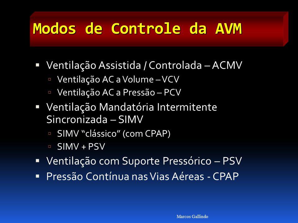 Modos de Controle da AVM Ventilação Assistida / Controlada – ACMV Ventilação AC a Volume – VCV Ventilação AC a Pressão – PCV Ventilação Mandatória Intermitente Sincronizada – SIMV SIMV clássico (com CPAP) SIMV + PSV Ventilação com Suporte Pressórico – PSV Pressão Contínua nas Vias Aéreas - CPAP Marcos Gallindo