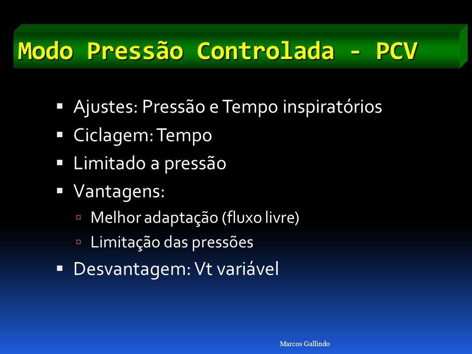 Modo Pressão Controlada - PCV Ajustes: Pressão e Tempo inspiratórios Ciclagem: Tempo Limitado a pressão Vantagens: Melhor adaptação (fluxo livre) Limitação das pressões Desvantagem: Vt variável Marcos Gallindo