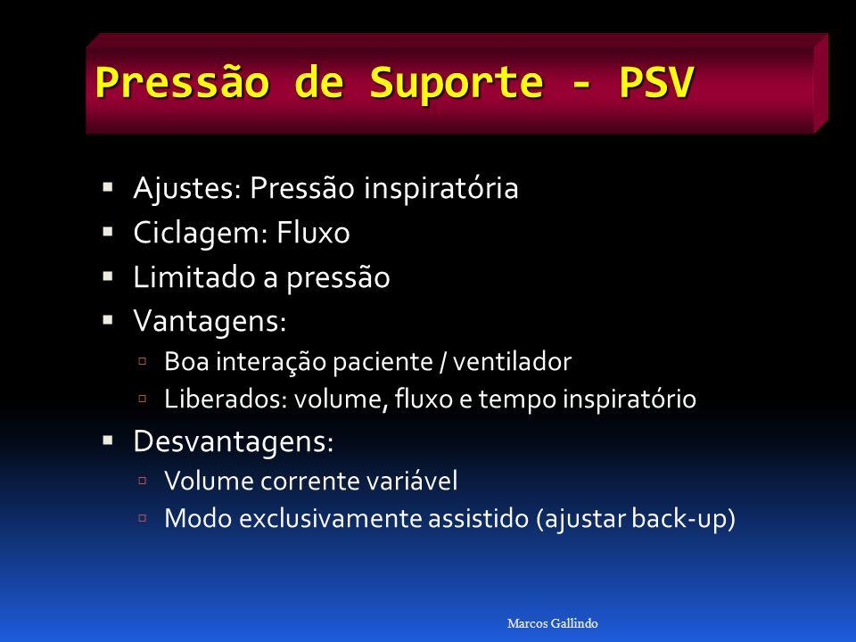 Pressão de Suporte - PSV Ajustes: Pressão inspiratória Ciclagem: Fluxo Limitado a pressão Vantagens: Boa interação paciente / ventilador Liberados: vo