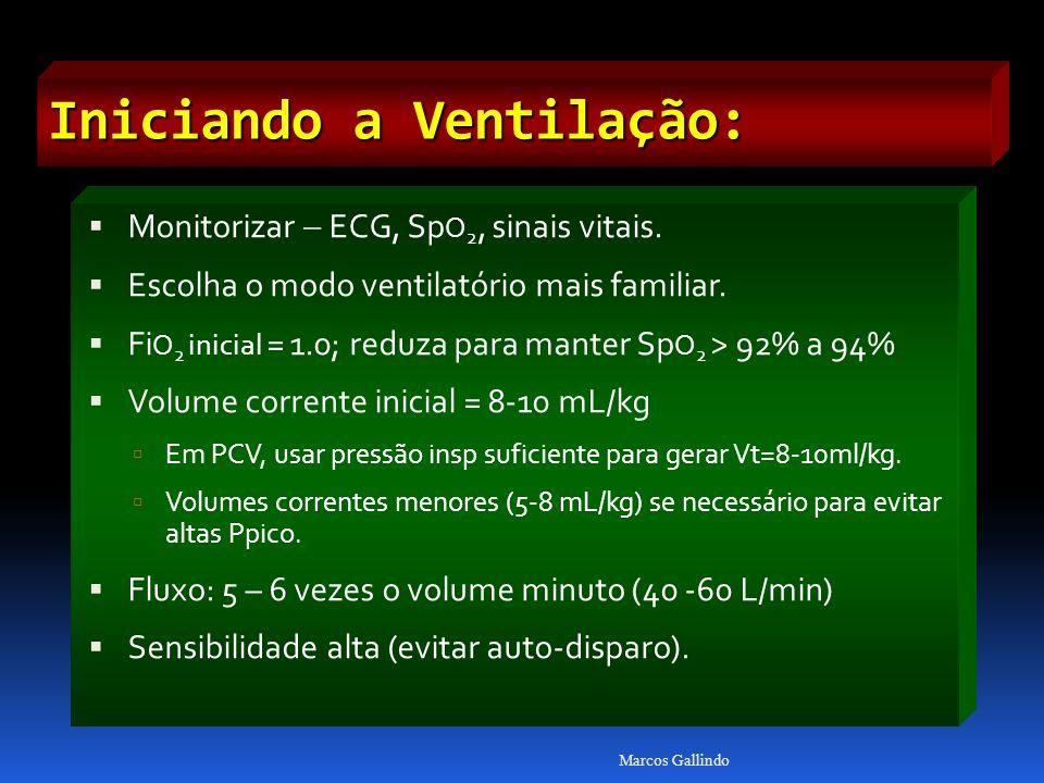 Iniciando a Ventilação: Monitorizar ECG, Sp O 2, sinais vitais. Escolha o modo ventilatório mais familiar. Fi O 2 inicial = 1.0; reduza para manter Sp