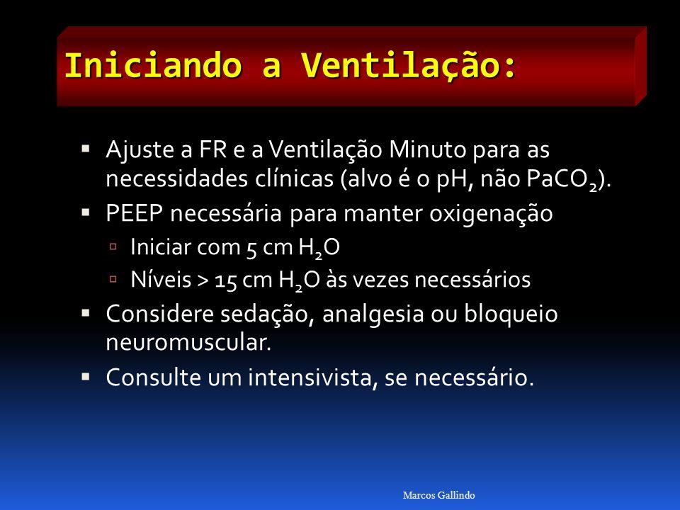 Iniciando a Ventilação: Ajuste a FR e a Ventilação Minuto para as necessidades clínicas (alvo é o pH, não PaCO 2 ). PEEP necessária para manter oxigen