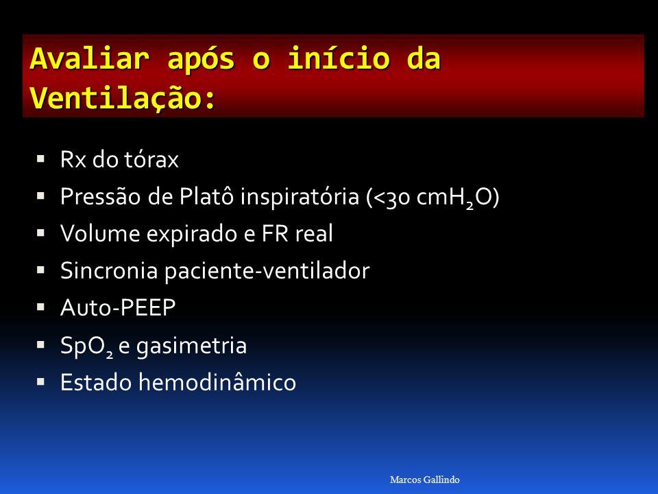 Avaliar após o início da Ventilação: Rx do tórax Pressão de Platô inspiratória (<30 cmH 2 O) Volume expirado e FR real Sincronia paciente-ventilador Auto-PEEP SpO 2 e gasimetria Estado hemodinâmico Marcos Gallindo