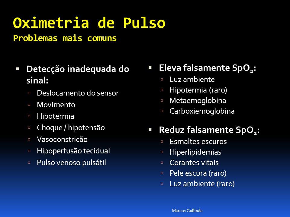 Oximetria de Pulso Problemas mais comuns Detecção inadequada do sinal: Detecção inadequada do sinal: Deslocamento do sensor Movimento Hipotermia Choque / hipotensão Vasoconstricão Hipoperfusão tecidual Pulso venoso pulsátil Eleva falsamente SpO 2 : Eleva falsamente SpO 2 : Luz ambiente Hipotermia (raro) Metaemoglobina Carboxiemoglobina Reduz falsamente SpO 2 : Reduz falsamente SpO 2 : Esmaltes escuros Hiperlipidemias Corantes vitais Pele escura (raro) Luz ambiente (raro) Marcos Gallindo