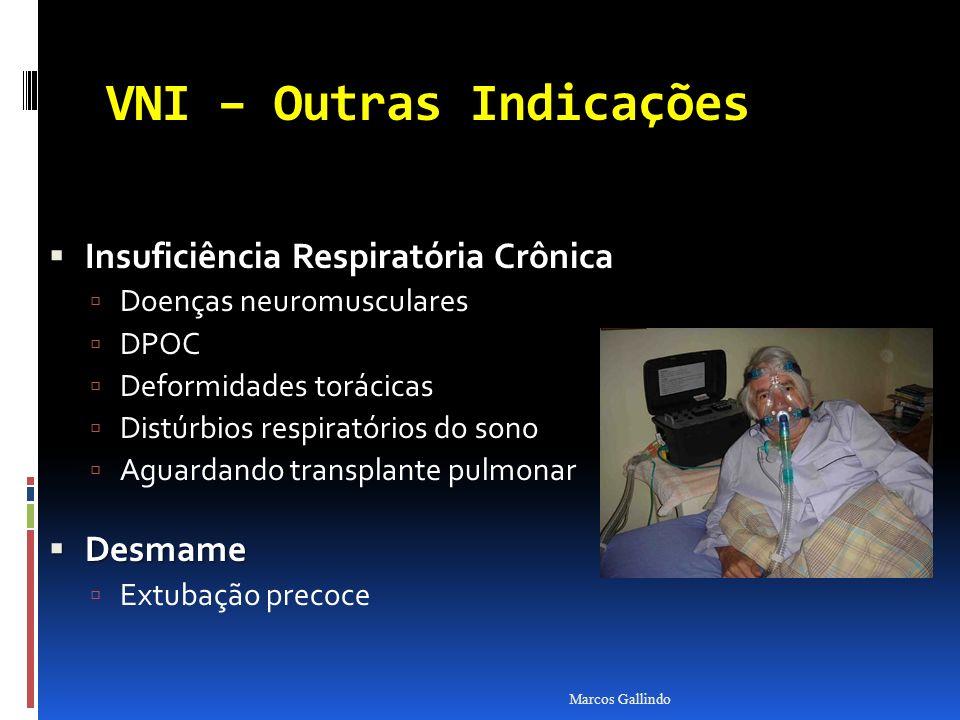 VNI – Outras Indicações Insuficiência Respiratória Crônica Insuficiência Respiratória Crônica Doenças neuromusculares DPOC Deformidades torácicas Dist