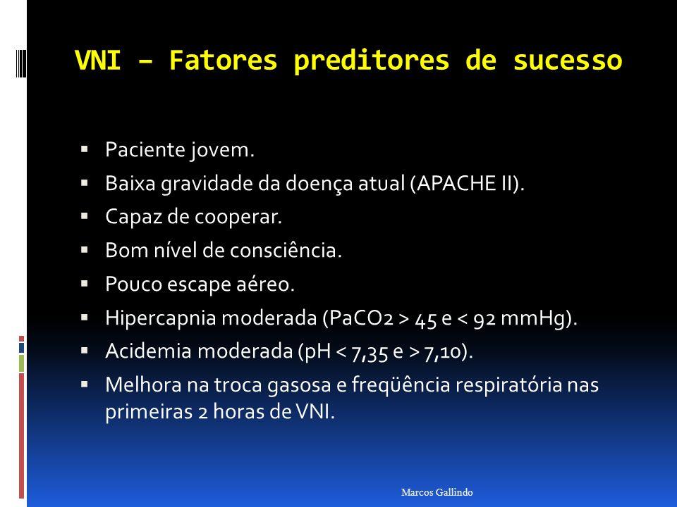 VNI – Fatores preditores de sucesso Paciente jovem. Baixa gravidade da doença atual (APACHE II). Capaz de cooperar. Bom nível de consciência. Pouco es