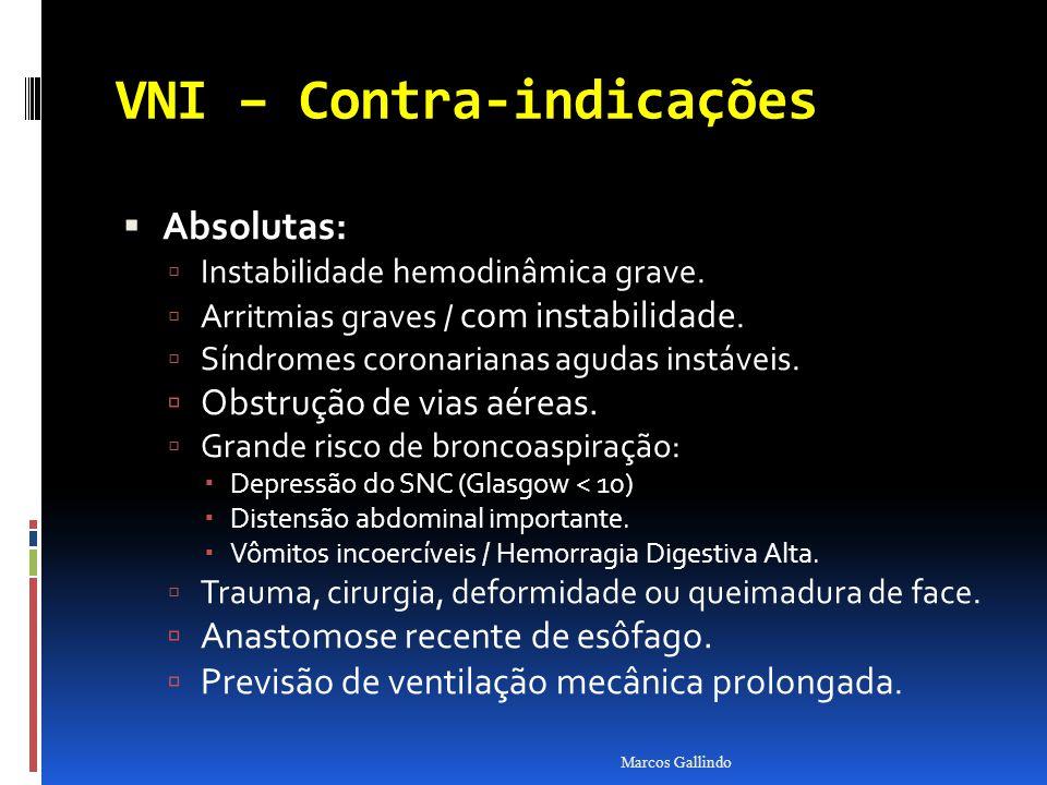 VNI – Contra-indicações Absolutas: Absolutas: Instabilidade hemodinâmica grave. Arritmias graves / com instabilidade. Síndromes coronarianas agudas in