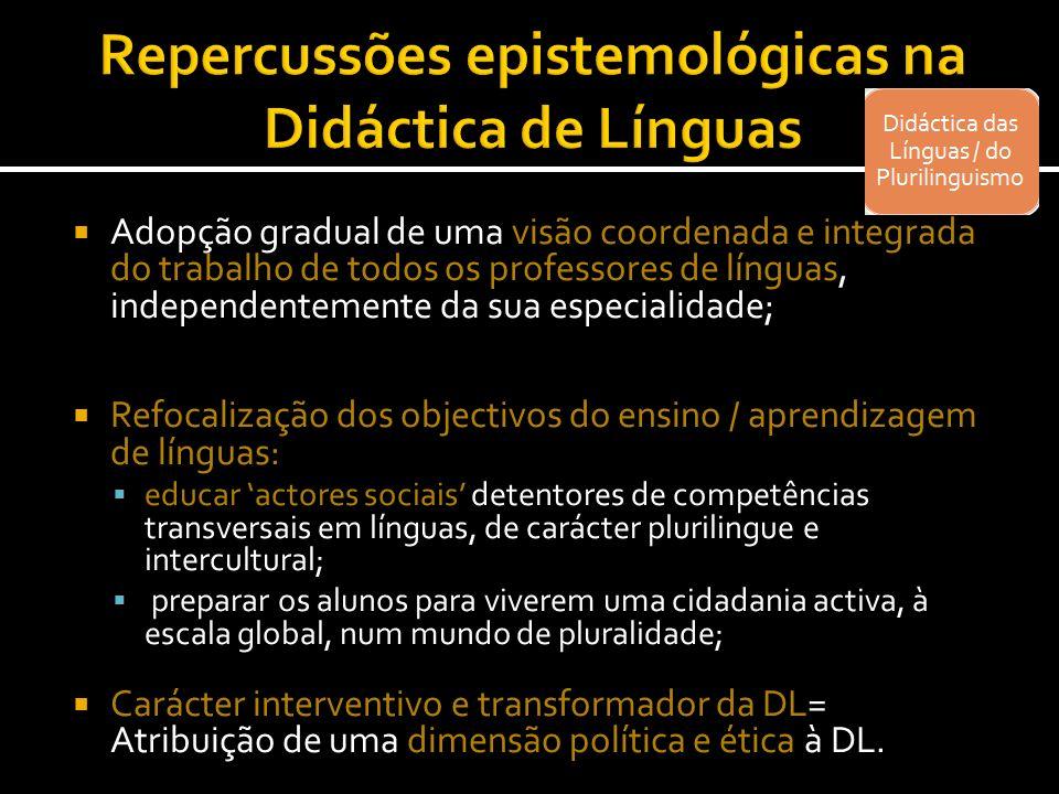 Adopção gradual de uma visão coordenada e integrada do trabalho de todos os professores de línguas, independentemente da sua especialidade; Refocaliza