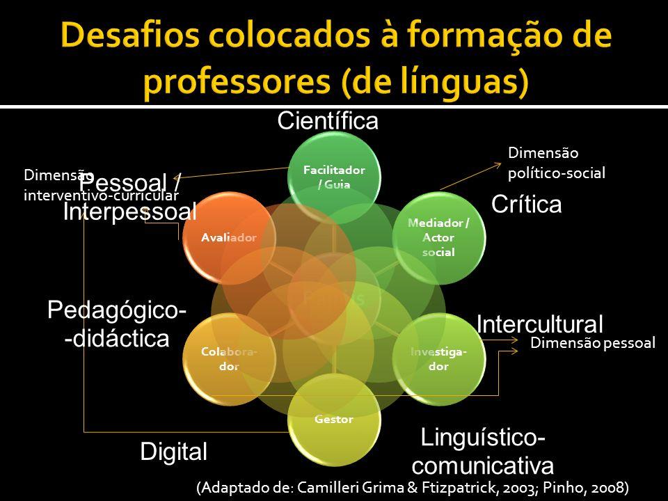 Papéis Facilitador / Guia Mediador / Actor social Investiga- dor Gestor Colabora- dor Avaliador (Adaptado de: Camilleri Grima & Ftizpatrick, 2003; Pin